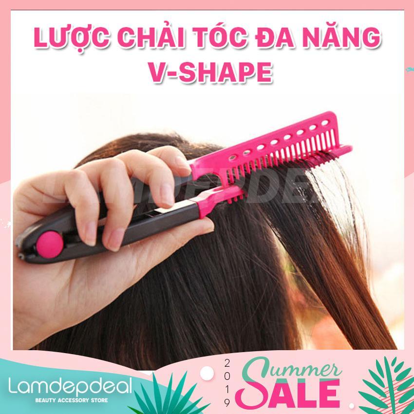 [FS 99K + COMBO GIẢM GIÁ 12K] Lược chải tóc đa năng V-Shape - duỗi thằng - uốn cúp - phồng tóc 3in1 - Lamdepdeal