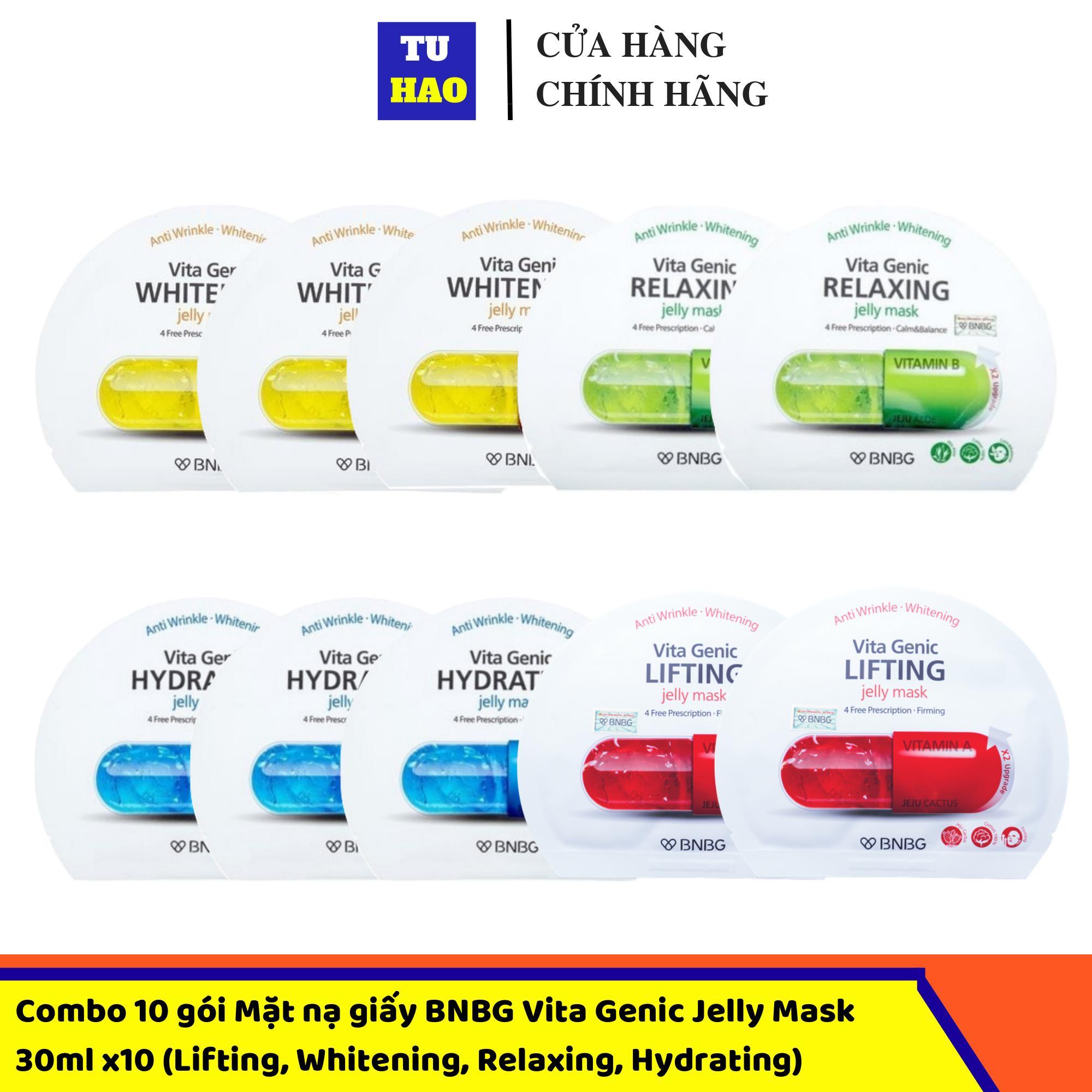 Combo 10 Gói Mặt Nạ Giấy BNBG Vita Genic Jelly Mask 30mlx10 (Lifting, Whitening, Relaxing, Hydrating) Mix đủ 4 Loại Khuyến Mại Hot