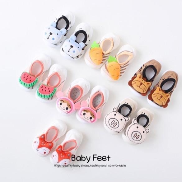 340# Giày bún trẻ em hình mặt thú đáng yêu, nhiều hình, tha hồ lựa chọn, vải bún mềm mịn giá rẻ