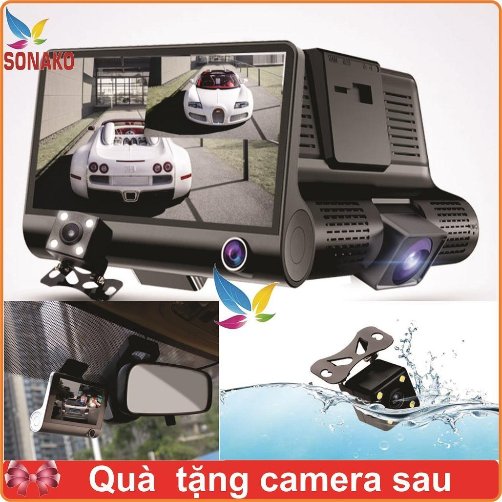 [Tặng Thẻ Nhớ 32GB] Camera Hành Trình Ô Tô 3 Mắt Góc Rộng Full HD- Sonako
