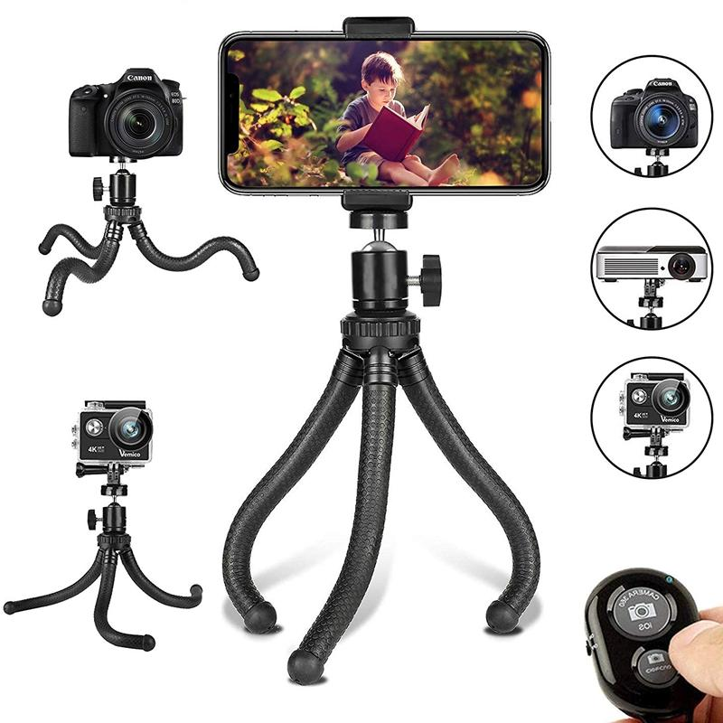 Giá Phone Tripod, Flexible Cell Phone Tripod Adjustable Camera Stand Holder With Wireless Remote Control And Universal Clip 360° Rotating Portable Tripod For iphone,Sports Camera