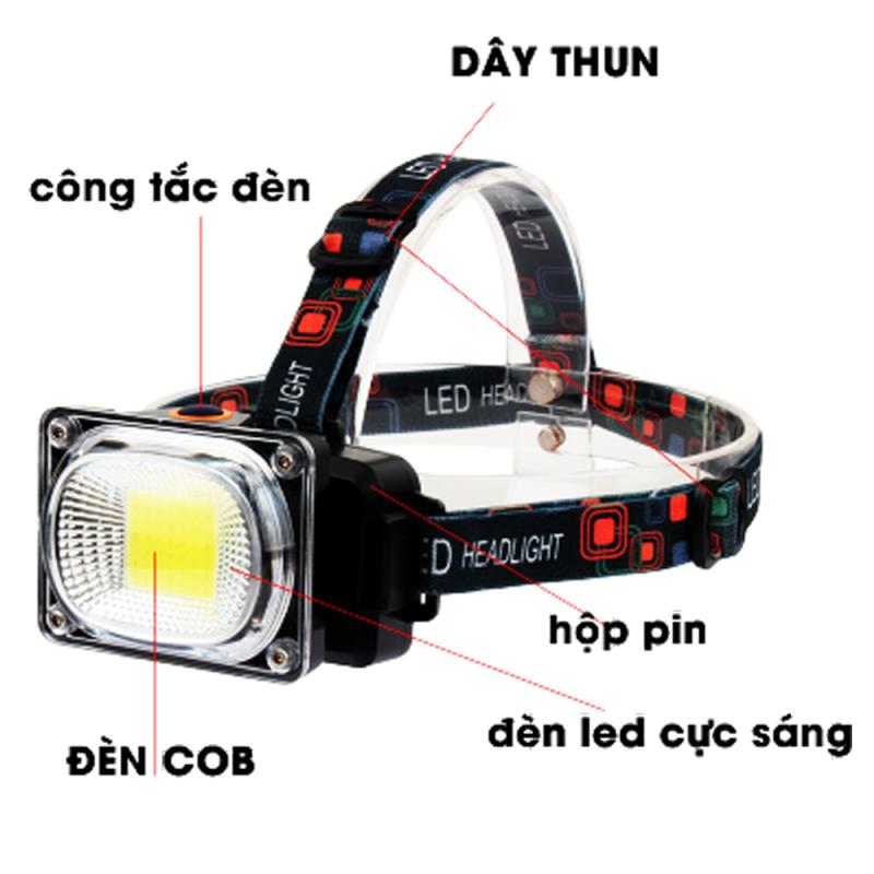 [HCM]Đèn pin đội đầu COB phiên bản GD944 nhiều chế độ mạnh nhẹ  chớp  báo hiệu xanh vàng  có video sản phẩmfull phụ kiện.