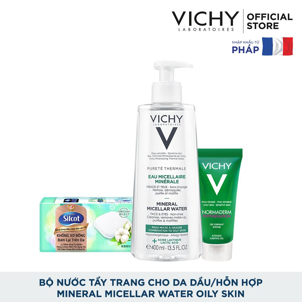 Bộ nước tẩy trang dành cho da dầu Vichy Mineral Micellar Water Oily Skin 400ml
