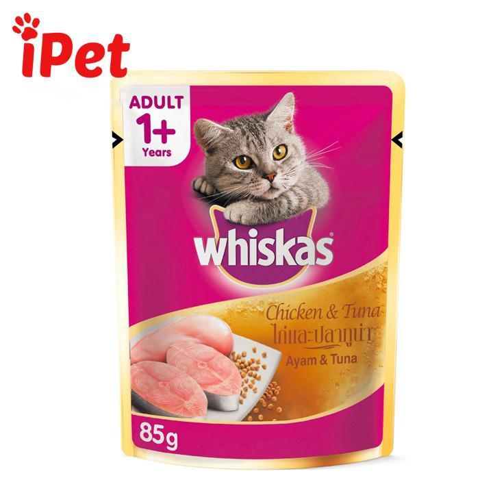 Thức Ăn Cho Mèo Lớn Pate  Whiskas Gà Cá Ngừ 85g - IPet Shop Bất Ngờ Ưu Đãi Giá