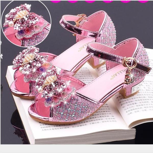 Giá bán Giày công chúa cao gót bé gái quai nơ đính hạt châu từ 3 - 12 tuổi