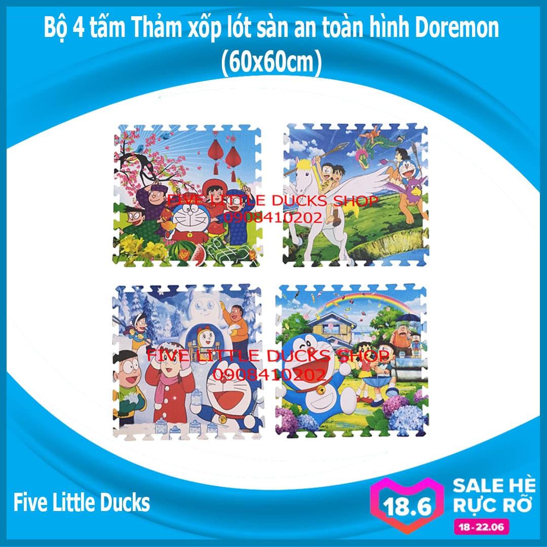 Bộ 4 Tấm Thảm Xốp Lót Sàn An Toàn Cho Bé Hình Doremon - 60x60cm - Xuất Xứ Việt Nam Đang Khuyến Mãi