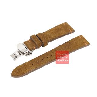 Dây đồng hồ da bò thật Vintage không chỉ viền kèm khóa bướm chống gẫy dây size 20mm thumbnail