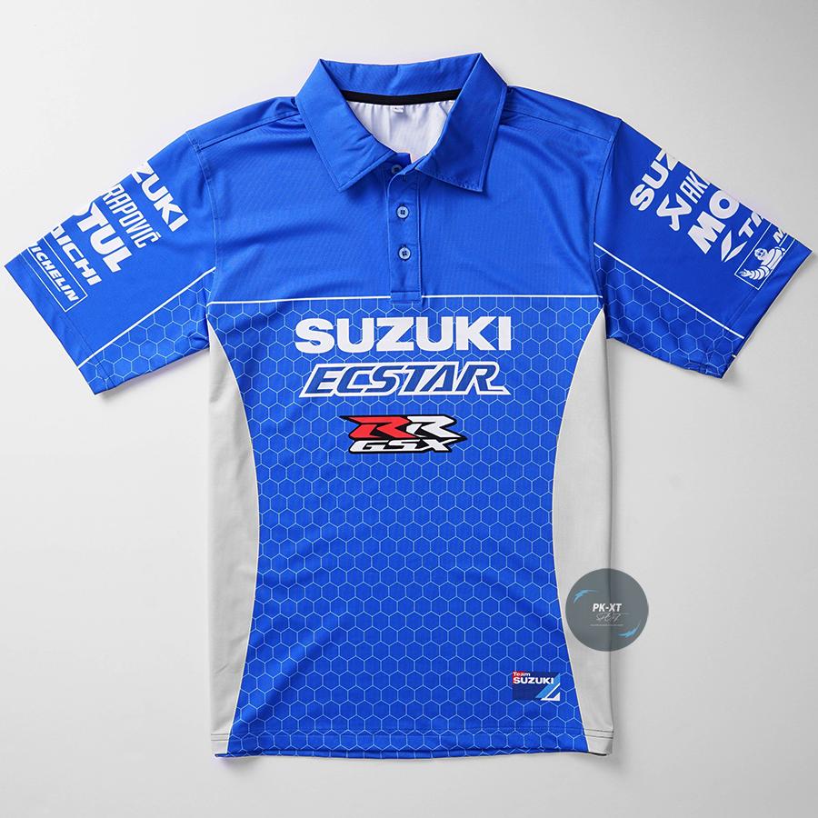 Áo thun nam xe Suzuki có cổ in chuyển nhiệt cao cấp thể thao năng động