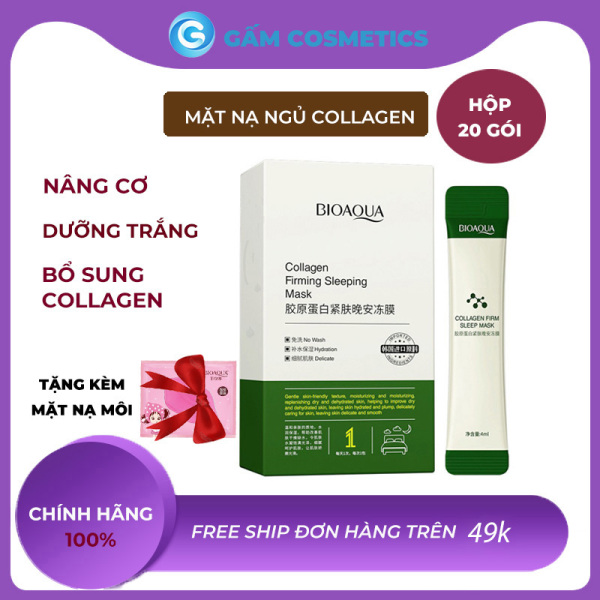 [Nâng Cơ] Mặt nạ ngủ thạch collagen tươi Bioaqua hộp 20 gói dưỡng da săn chắc mỹ phẩm nội địa Trung chính hãng - Gấm Cosmetics