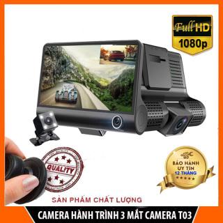 Camera hành trình ô tô 3 mắt T003 bảo vệ toàn diện cho xe hơi, màn hình công nghệ IPS 4 inch full HD 1080, camera sau chống nước thumbnail