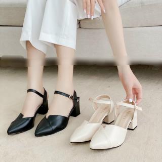 full box sandal nữ cao gót mũi nhọn đế cao 5cm chất da mềm, kiểu dáng thời trang trẻ đẹp thumbnail