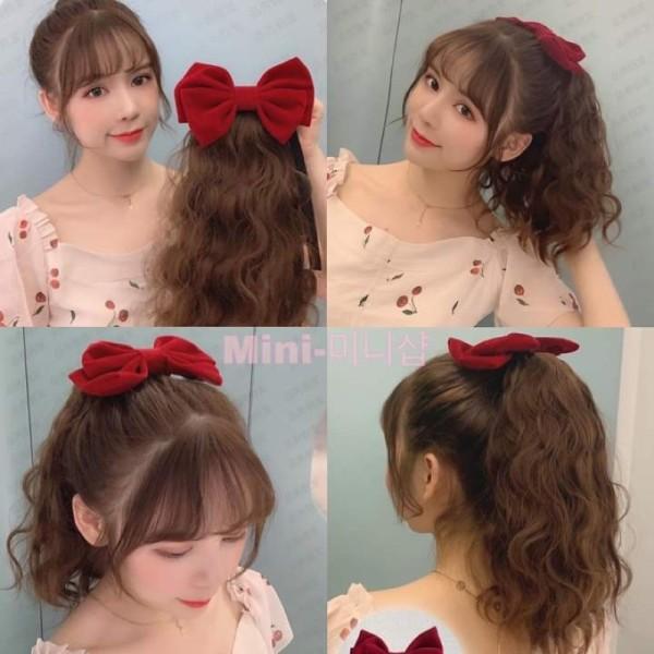 tóc cột xù ngắn đính nơ nhung ❤️FREESHIP❤️ B43+ nơ nhung