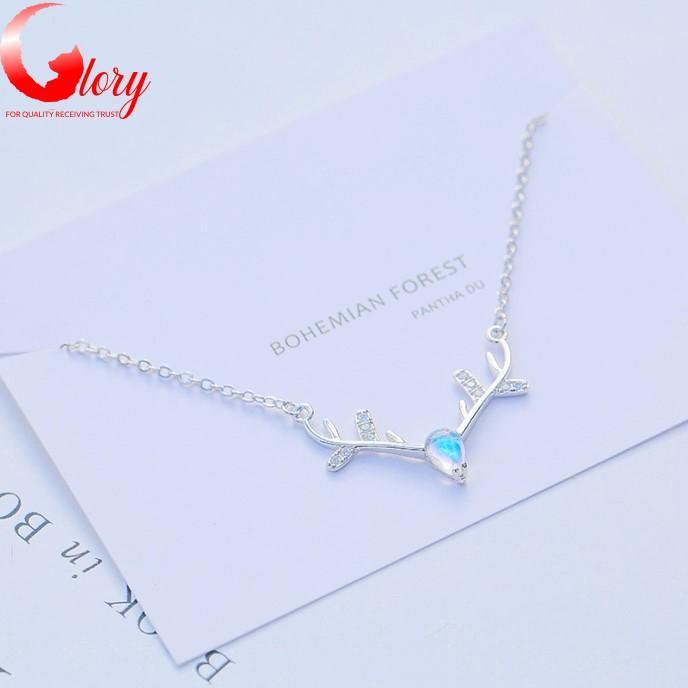 Dây chuyền nữ bạc Ý S925 mặt sừng hưu đá xanh lấp lánh thời trang đẹp cao cấp cho phái nữ G297538-4