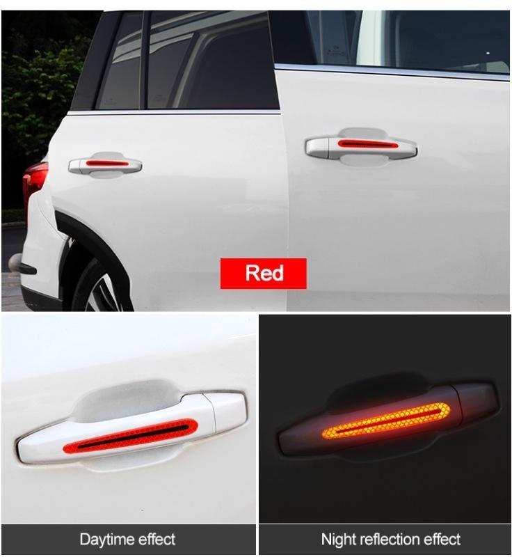 Bộ 4 tem decal phản quang tay nắm cửa xe ô tô