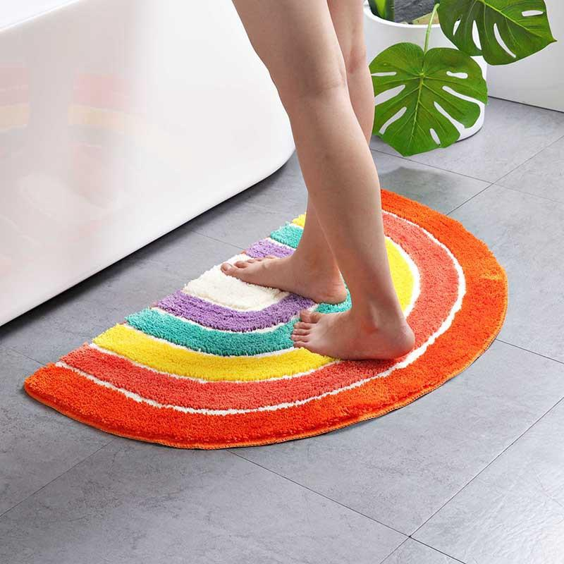 Rainbow Semicircular Floor Mat Indoor Door Mat Bedroom Doorway Vacuuming Mat Bathroom Absorbent Cartoon Floor Mat Beautiful and Durable