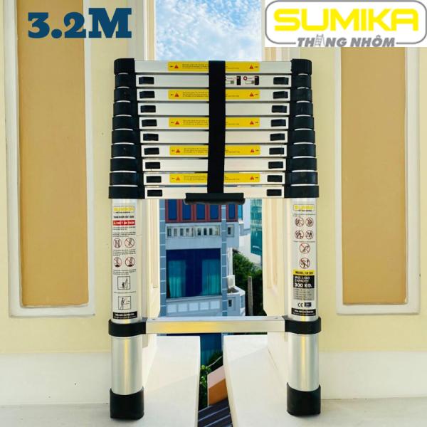 Thang nhôm rút xếp đơn cao cấp 3,2m Sumika SK320 - Chất liệu nhôm, 11 bậc, tải trọng 300kg, bảo hành 2 năm