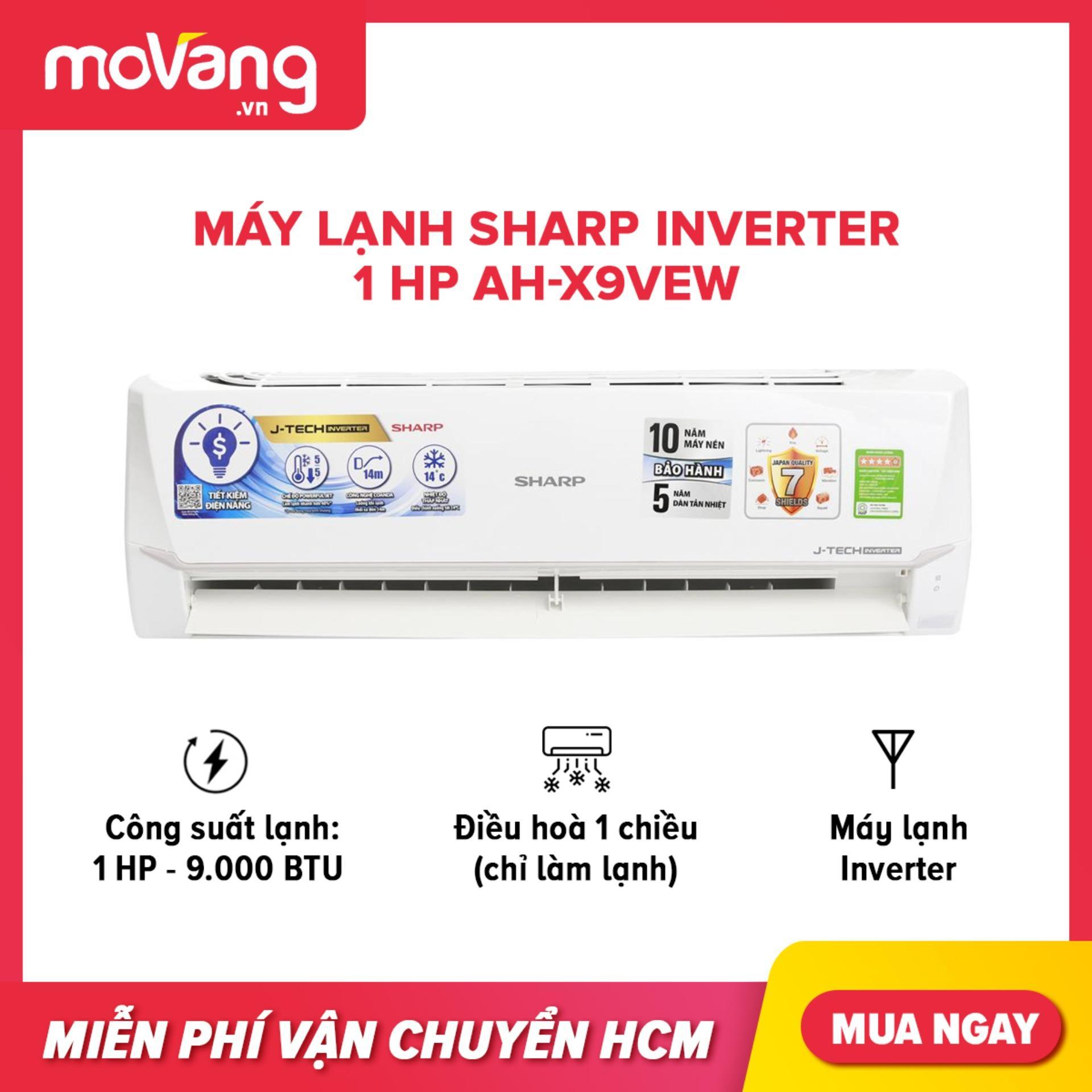 Bảng giá Máy lạnh Sharp Inverter 1 HP AH-X9VEW phạm vi làm lạnh dưới 15m2, công suất tiêu thụ 0.8 kW/h, công nghệ kháng khuẩn khử mùi
