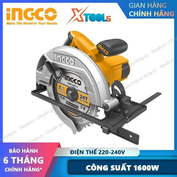 Máy cưa đĩa tròn 1600W INGCO CS18568 kèm theo 1 lưỡi cắt 185mm, 1 bộ than. Máy cưa cầm tay Tốc độ  không tải 5000 rpm Đường kính lưỡi 185mm, khả năng cắt 44mm- 65mm cắt sâu và  cắt nghiêng - sản phẩm chính hãng [XSAFE] [XTOOLs]
