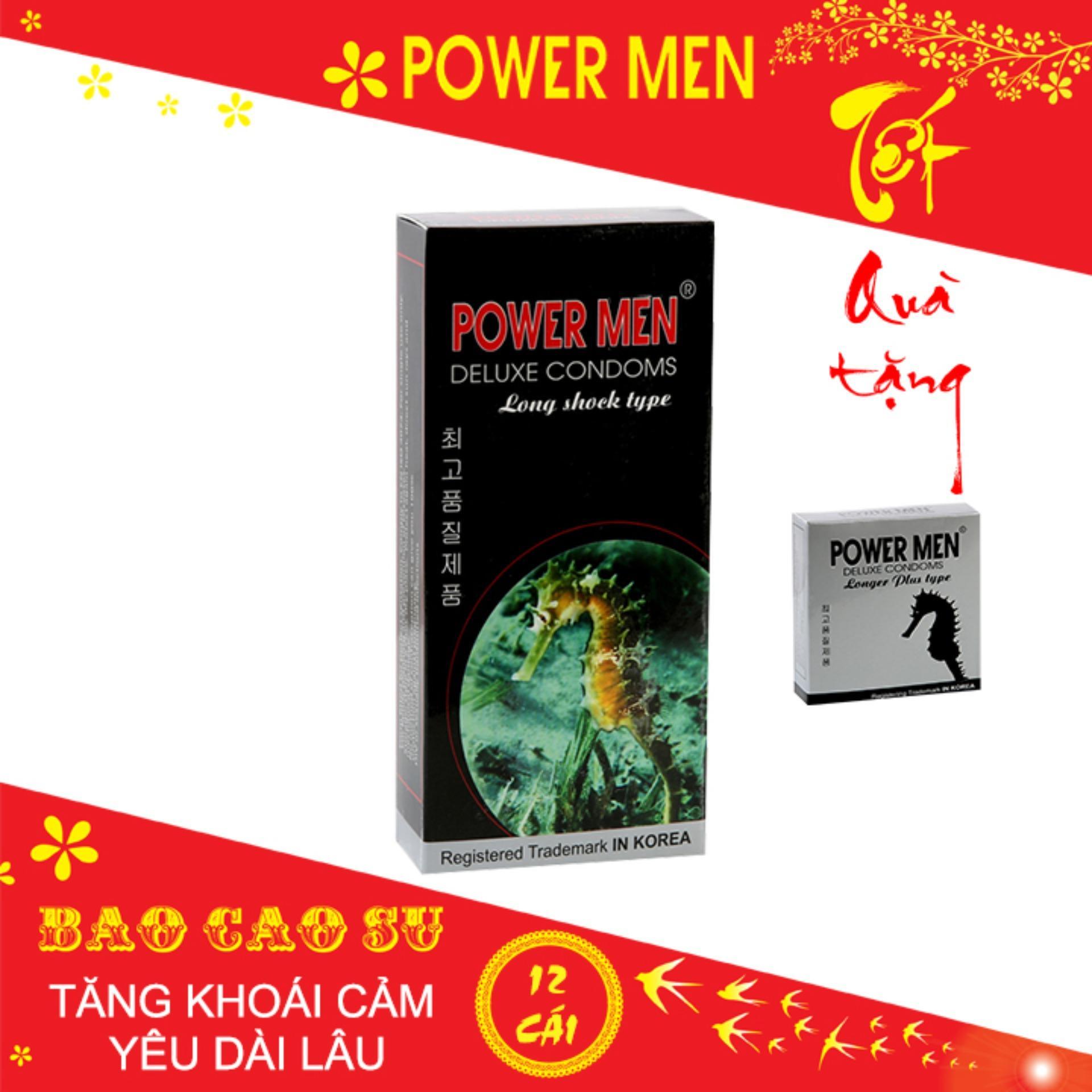 [Mua 1 Tặng 1] Bao cao su Powermen Longshock Hộp 12 Chiếc nhập khẩu