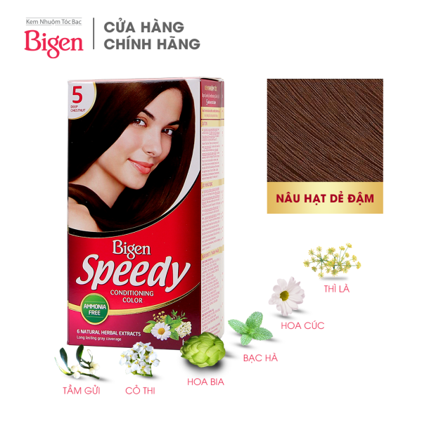 Thuốc nhuộm dưỡng tóc phủ bạc thảo dược Bigen Speedy Thương hiệu Nhật Bản 80ml dạng kem - Nâu Hạt dẻ Đậm 5