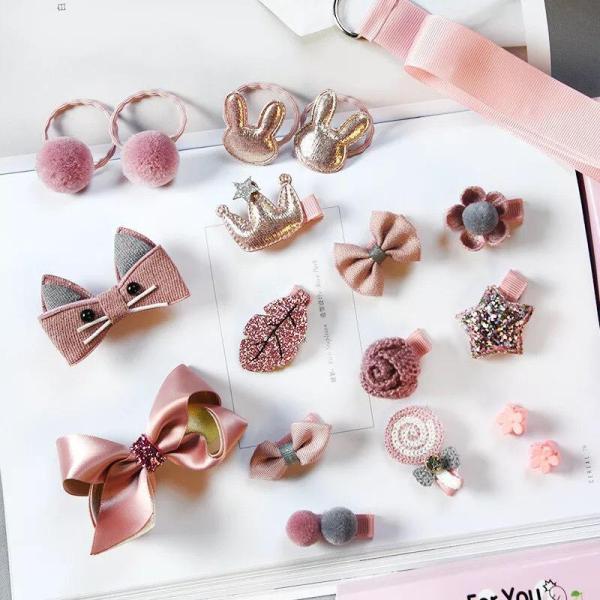 Giá bán Kẹp tóc cho bé gái 18 chi tiết kèm hộp màu hồng