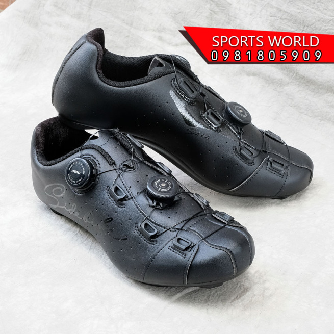 Giày can đạp xe, 2 khóa vặn, dòng Road - SIDEBIKE SD-019-BLACK giá rẻ