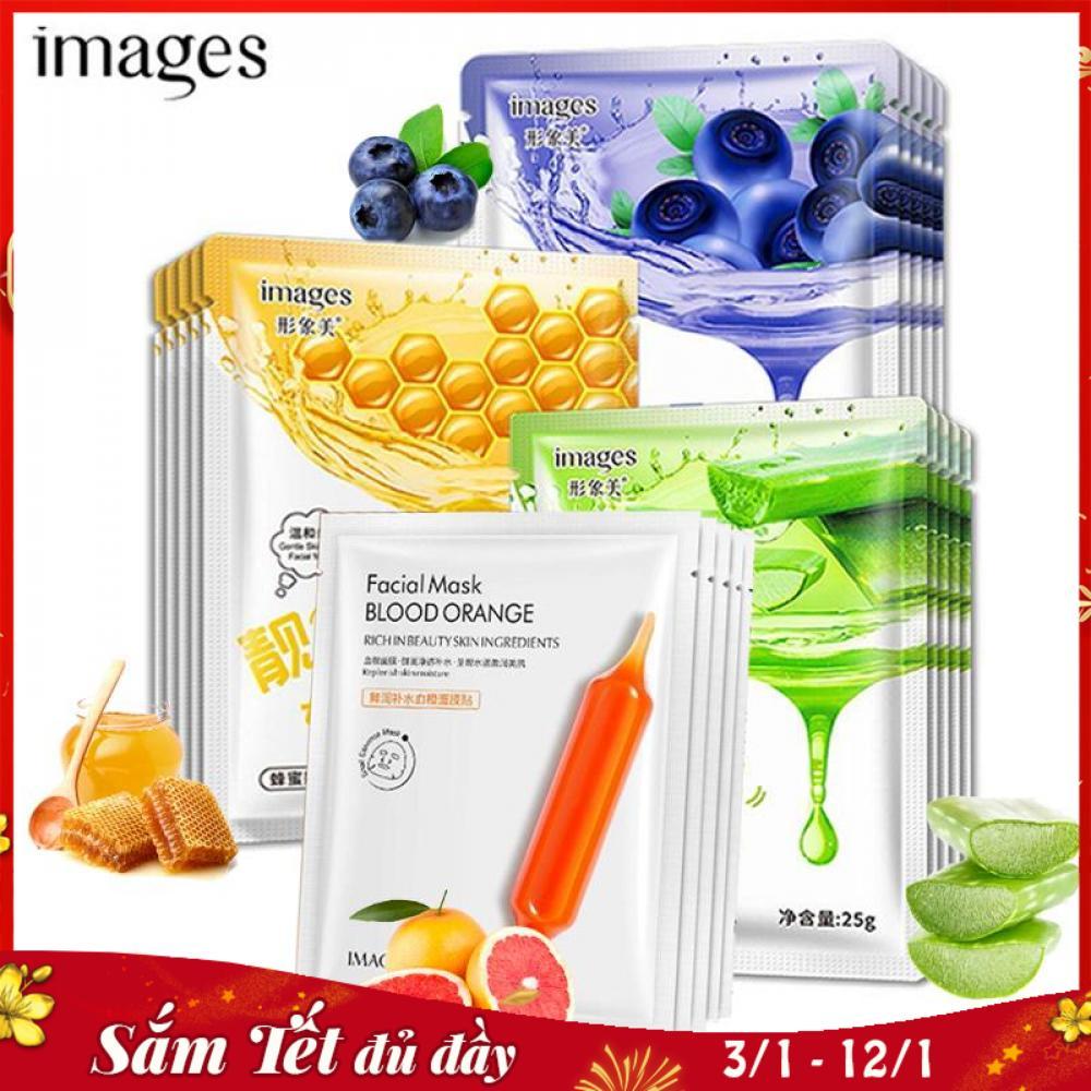 Combo 10 mặt nạ giấy dưỡng trắng da IMAGES mix 4 loại lô hội, việt quất, mật ong, cam đỏ mặt nạ nội địa Trung XP-SPU034