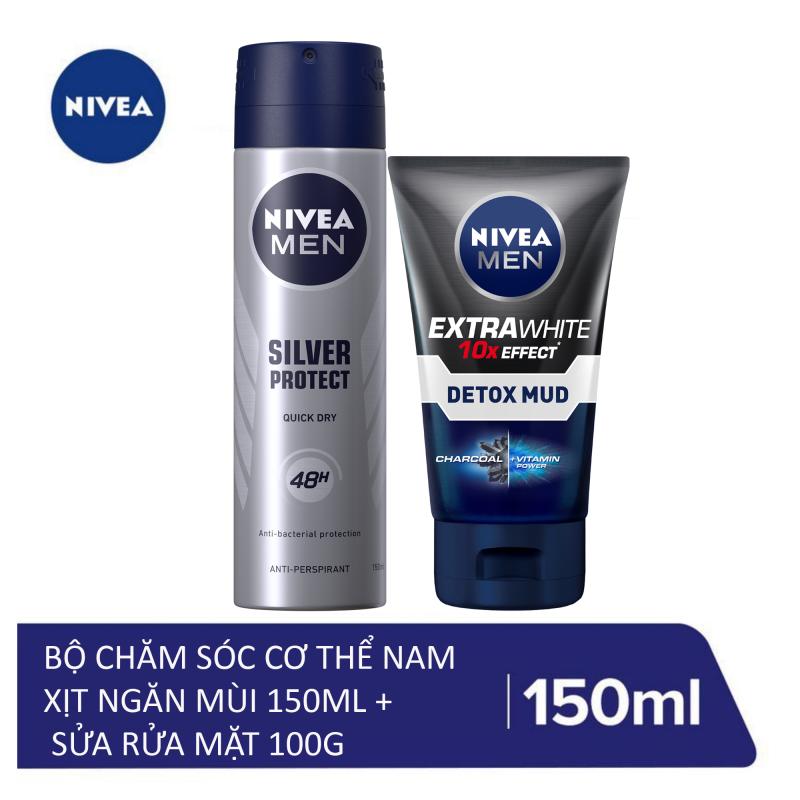 Bộ chăm sóc cơ thể nam Sữa Rửa Mặt Mud Sáng Da 100g & Xịt Ngăn Mùi Nivea Men Silver Protect 150ml