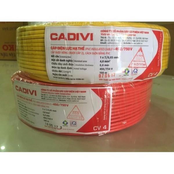 [HCM]DÂY ĐIỆN ĐƠN CADIVI 4.0 - 100 mét -CV4.0