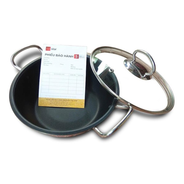 Nồi chống dính kho cá 3 đáy từ inox 430 Fivestar standard nắp kính 18cm / 20cm ( tặng 1 vá canh )