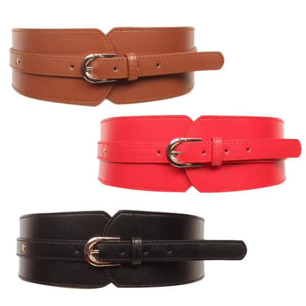 Giá bán Leather High Belt Ladies Retro Belt Buckle Versatile Elastic Wide Belt Casual Waist Seal Decoration