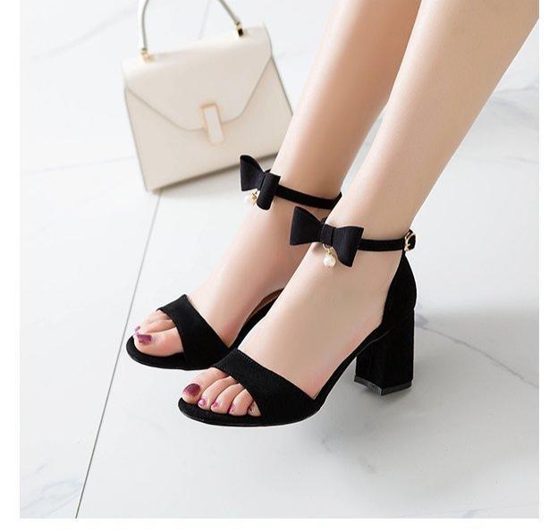 Giày cao gót vuông 7p quai nơ 1 hạt châu