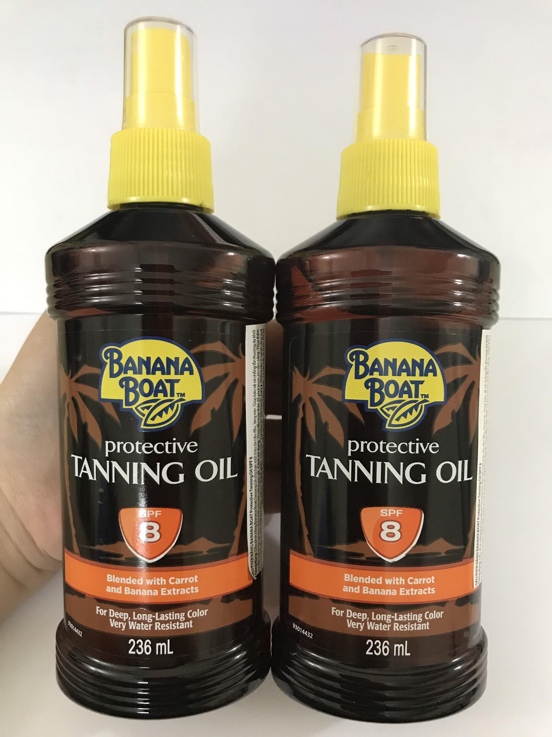 COMBO 2 DẦU PHƠI NẮNG BANANA BOAT TANNING OIL SPF8 236ML cao cấp