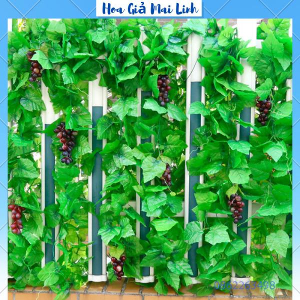 Dây lá Nho giả lá xanh dài 2,3m Dây leo lá Nho trang trí nhà cửa - quán cafe siêu đẹp ML6