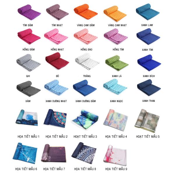 Khăn trải thảm tập Yoga cao cấp phủ PVC chống trơn trượt tặng túi đựng khăn (Khăn dày thấm hút nhanh, hạt chống trơn to đều) nhiều màu khăn vrg008816