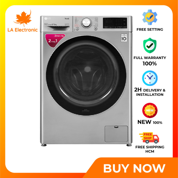 Installment 0% - LG Inverter 9 kg washing machine FV1409G4V