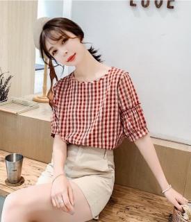 Áo kiểu nữ caro dáng suông đẹp, kèm hình vải chụp thật thumbnail