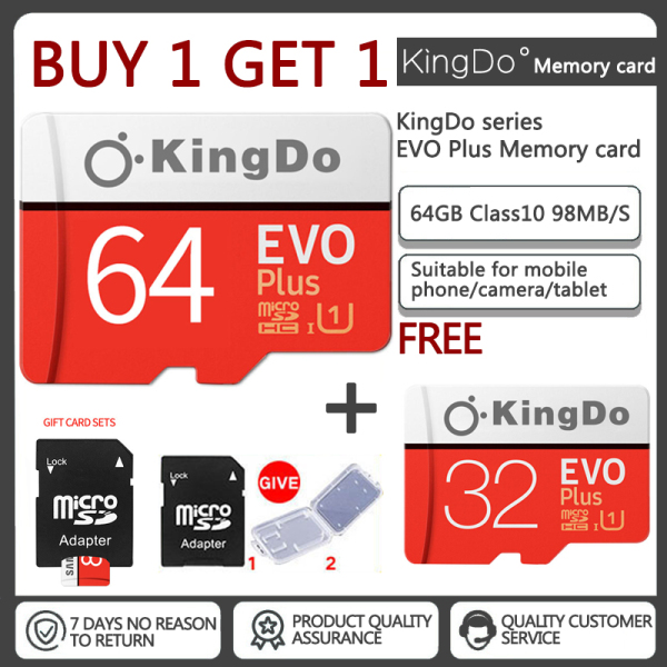 Mua 1 tặng 1 Thẻ nhớ 64GB Kingdo Evo Plus New (100 Mb/s) + Adapter Samsung(Tặng 32GB Samsung thẻ nhớ)