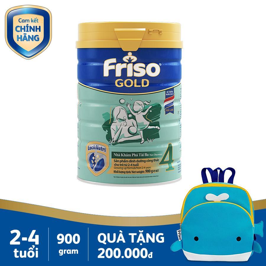 Sữa Bột Friso Gold 4 900g Cho Trẻ Từ 2-4 Tuổi + Tặng 1 Balo Cá Voi Xanh Trị Giá 200k - Cam Kết HSD ít Nhất 10 Tháng Giảm Cực Đã