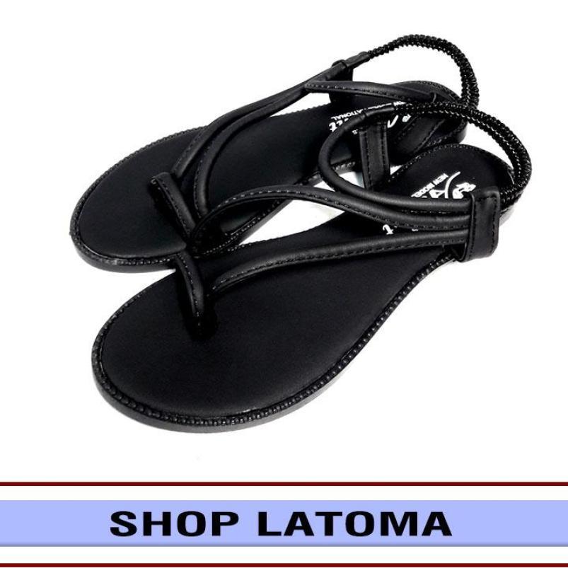 [Có Video Quay Thật] Giày sandal nữ xỏ ngón thời trang cao cấp Latoma TA0881(Đen) giá rẻ