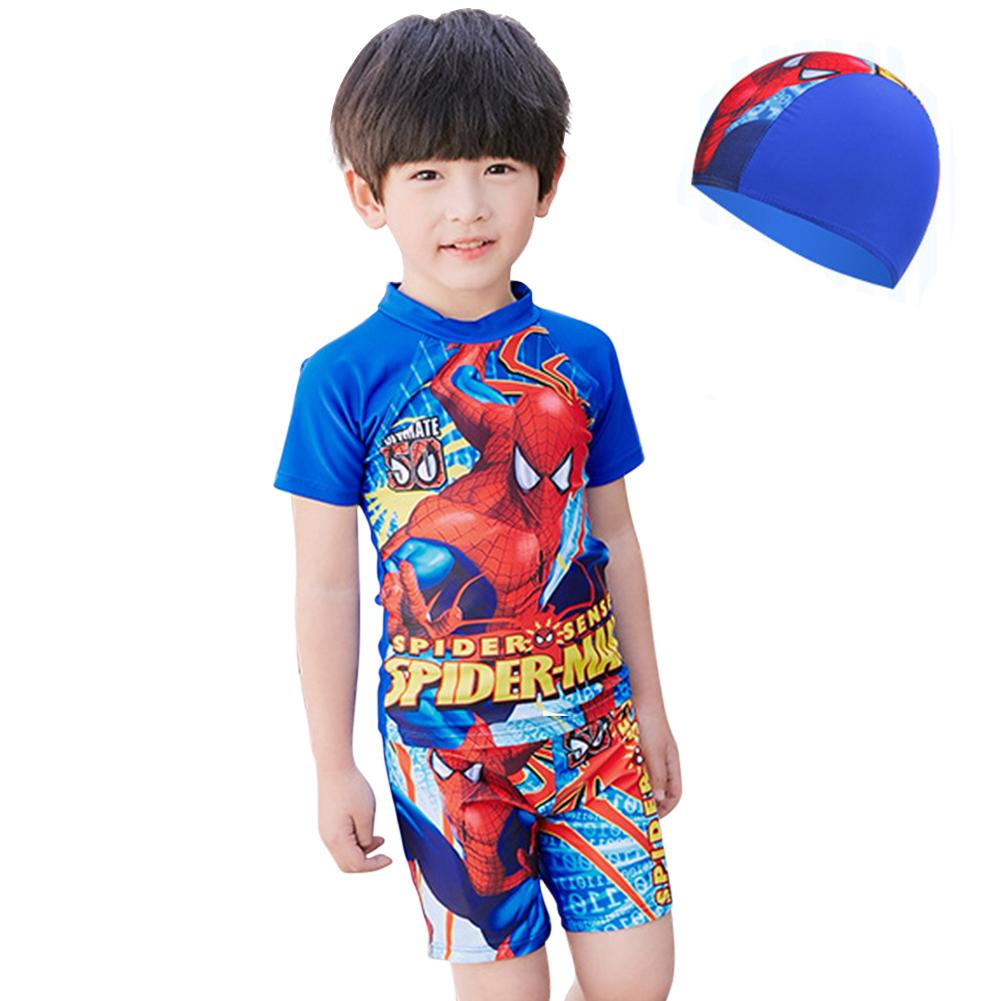 af53ccc3ec 3 piece suit boy cartoon sunscreen split swimsuit swim trunks swimming cap