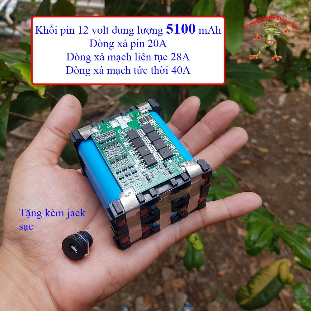 Khối pin 6 cell 12v 5100mAh EVE XANH tặng kèm jack sạc