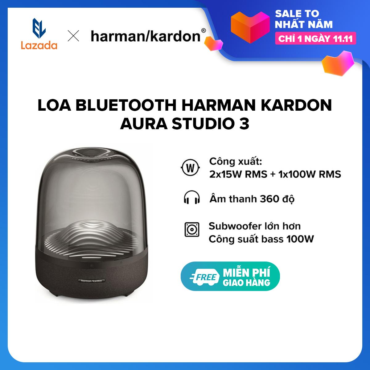 [TRẢ GÓP 0% - HÀNG CHÍNH HÃNG] Loa Bluetooth Harman Kardon Aura Studio 3 l Công suất: 2 x 15W RMS + 1 x 100W RMS l 45Hz-20kHz l Bluetooth 4.2