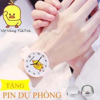 đồng hồ dây cao su candycat hình vịt Tiktok, dây cao su mềm không đau tay, tặng kèm kèm pin, màu tự chọn thumbnail