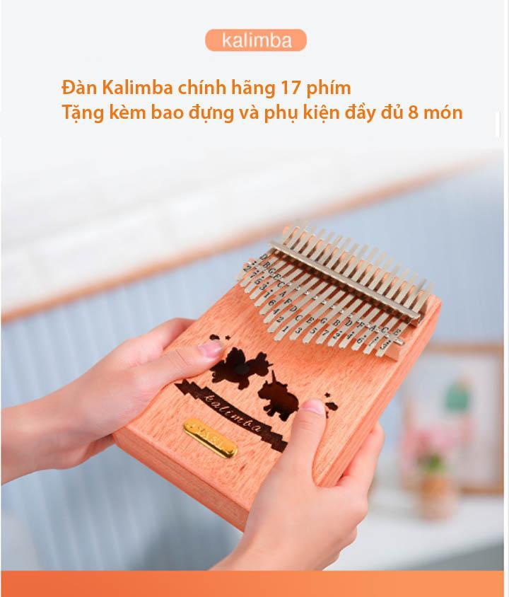 Đàn kalimba - Thumb piano 17 phím chuẩn tặng bao đựng và phụ kiện