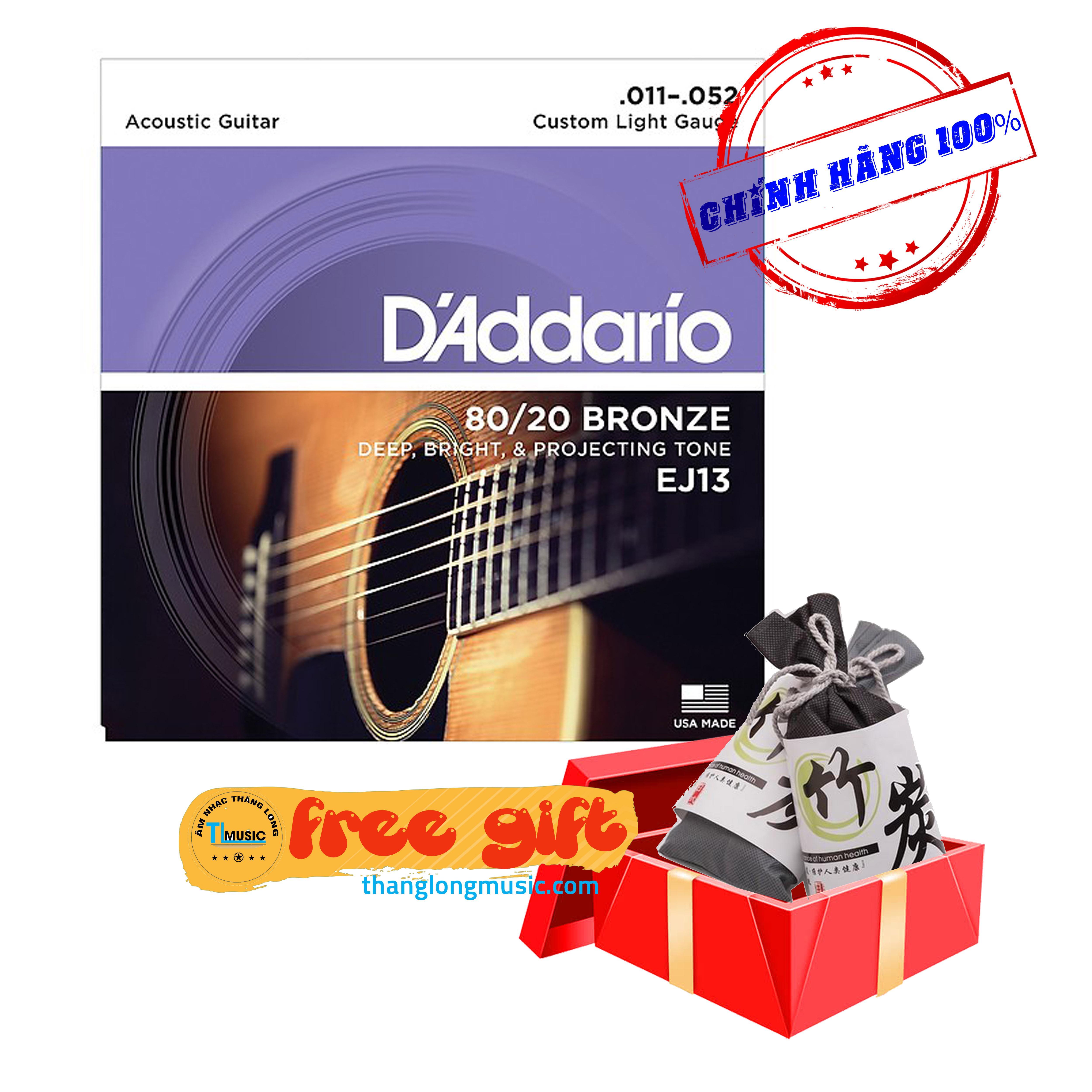 Dây guitar Acoustic Daddario EJ13 (Tặng kèm -Túi than tre hoạt tính khử mùi hôi trị giá 50.000Đ- từ 27/12/2019)