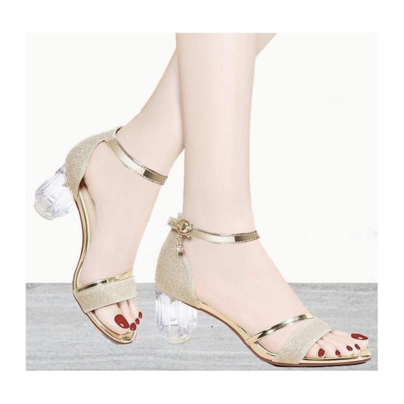 Giày cao gót 6cm sandal bản kim tuyến (LT-SD032) giá rẻ