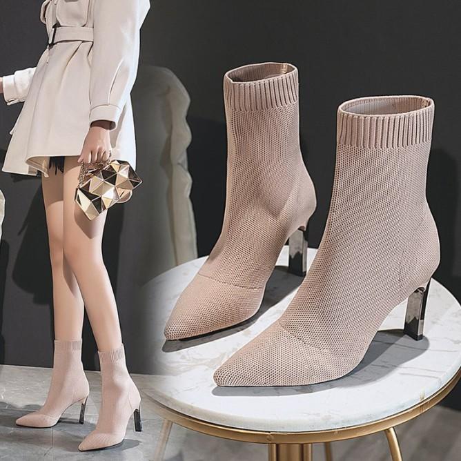 Boot vải mũi nhọn co giãn cao gót hàng order QC giá rẻ