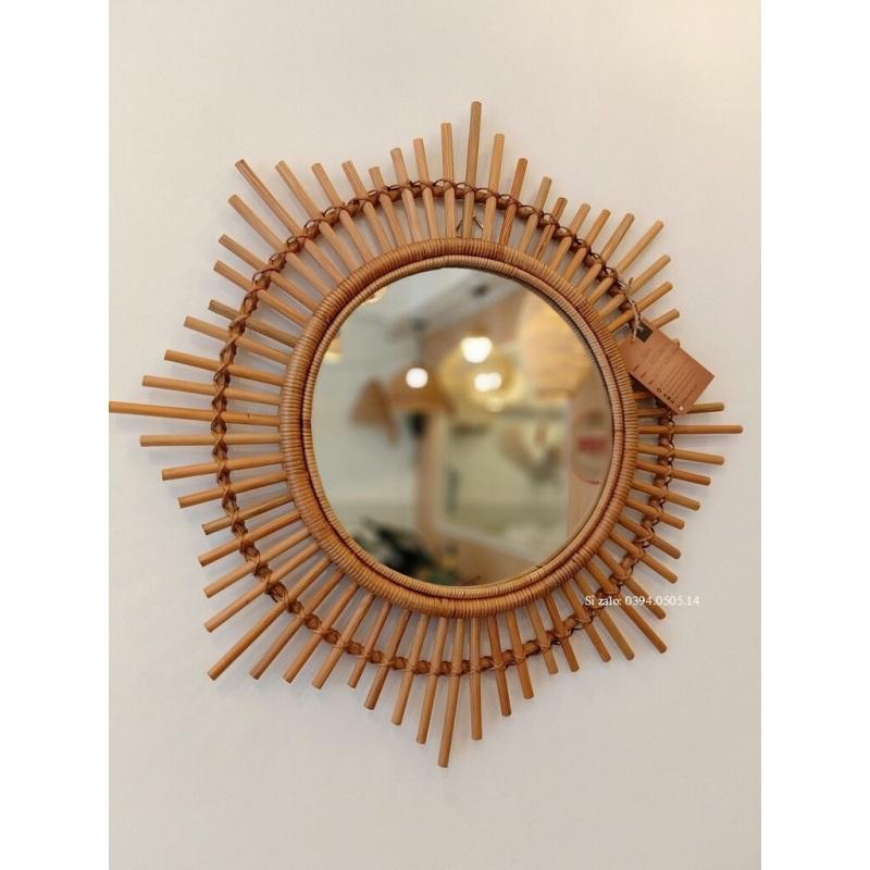Gương Mây Tre Trang Điểm, Gương Trang Trí Nhà Cửa, Gương treo tường, Gương tròn Decor Nhà Cửa