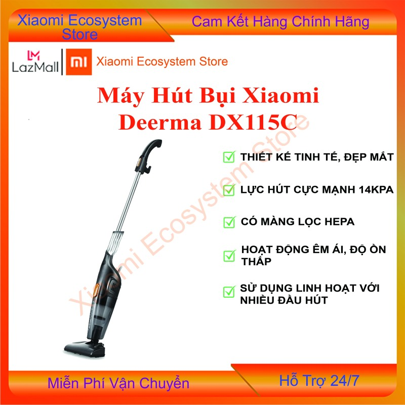 Máy hút bụi Deerma DX115C công suất 600W, 3 đầu hút, bộ lọc hepa và hệ thống lọc bụi 3 lớp | Shop XIAOMI ECOSYSTEM STORE